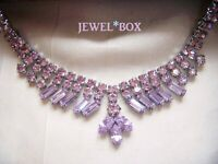 RARE VINTAGE JEWELLERY ALEXANDRITE COLOUR CHANGE CRYSTAL RHINESTONE NECKLACE