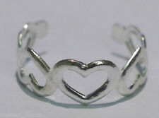 Silver Heart Toe Ring, Fully Adjustable, Size Around H-M