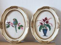 Antique Victorian wooden frame thread work art flowers &Bird w Bubble Glass pair