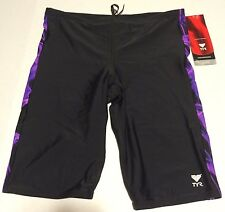 TYR Mens Jammer Swimsuit Size 36 Black Purple Compression Lycra Competition NEW