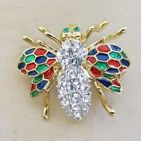 Rhinestone Bee Brooch Pin with White Rhinestones Enamel Gold Tone Metal [4230]
