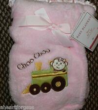 S. L HOME BABY BLANKET PINK TRAIN GIRL MONKEY CHOO CHOO EMBROIDERY SOFT PLUSH