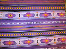 Navajo Indian Purple Teal Border Print Cotton Fabric FQ