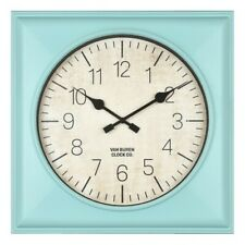 """20"""" Rustic Teal Square Wall Clock Teal - Threshold™"""