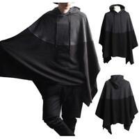 Men Autumn Hooded Hoodie Cape Cloak Poncho Coat Smock Pullovers Coat Sweaters sz