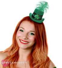 MINI GREEN TOP HAT WITH SHAMROCK AND FEATHER ST PATRICKS DAY IRISH FANCY DRESS