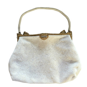 1940s DeLill France White Beaded Evening Bag with Elaborate Beaded Frame