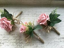 Artificial Light Pink Rose Buttonhole Hessian Rustic Vintage Wedding Flowers x1