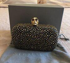 Alexander McQueen Britannia Gold Diamante Skull Claps Clutch Bag