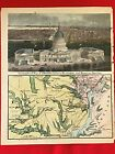 BEAUTIFUL, HISTORIC MAGNUS CIVIL WAR MAP OF NORTHERN VIRGINIA  AND U.S. CAPITOL