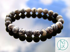 Black Veined Jasper Natural Gemstone Bracelet 7-8'' Elasticated Healing Stone