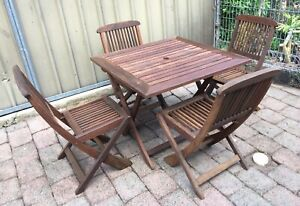 Teak Timber Folding Outdoor 5 Piece Set Table  And 4 X Chairs
