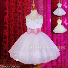 Sequins A-line Wedding Flower Girl Bridesmaid Party Dress Age 2-11 Years FG269