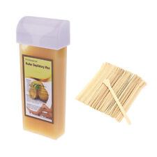 100g Hair Remover Cartridge Roller Depilatory Wax +50 Wood Stick Applicator