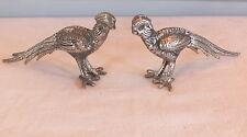faisans en paire coq de bruyère métal argenté pheasant