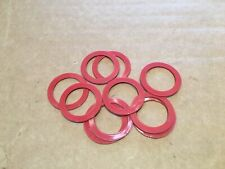 Qty 10 x Red Plastic  Washers OD 1 3/8 inch  ID 1 inch Thickness 3/64 inch.