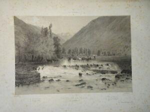 Eugène CICÉRI (1813-1890) BELLE LITHO PAYSAGE PYRENEES LUCHON CHUTE PIQUE 1860