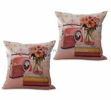 US SELLER-set of 2 outdoor pillow covers vintage floral radio cushion cover