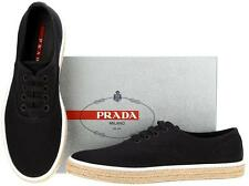 NEW PRADA MEN'S BLACK DRILL ESPADRILLES  SNEAKERS LACE-UP SHOES 8.5/US 9.5