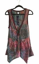Lily by Firmiana Open Knit Bohemian Sleeveless Vest Top Size S