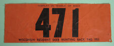 1953 Low # Wisconsin Resident Deer Back Tag Hunting License.Free Shipping!