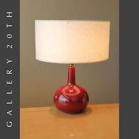 CLEAN & GORGEOUS CHERRY MID CENTURY MODERN PORCELAIN LAMP! VTG RAYMOR 50'S RETRO