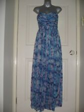 FOREVER NEW (Size 10) LOVELY BLUE FLORAL SILK STRAPLESS MAXI DRESS.  NEAR NEW