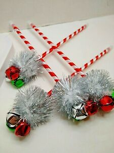 Christmas Pens Jingle Bell Candy Cane Striped   New Bulk Packaged