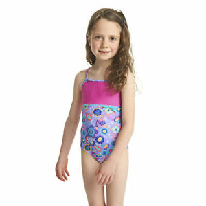 Zoggs Tots Girls Wild Classicback Lilac/Multi Swimsuit Ages 1 - 4 Years