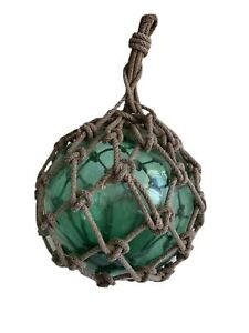 """Vintage Roped Teal Japanese Glass Buoy Fishing Float 11"""""""