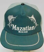 Old Vintage 1980s MAZATLAN MEXICO SWORDFISH FISHING TRUCKER SNAPBACK HAT CAP