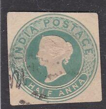 India Half Anna Victoria Postal Stationary Cut Out Vgc