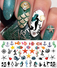 Nautical Nail Art Waterslide Decals Set #2 - Fishing Lures, Mermaids and More!