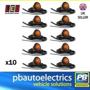 10 x LED Autolamps 181AME Trailer Side Round Marker Lights AMBER - 12 / 24 Volt
