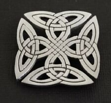Pewter Squared Celtic Knot-Work Brooch Made in Usa