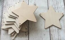set of 10 laser cut wooden stars unpainted, two holes for garland bunting