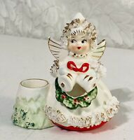 Vintage Commodore 1950's Spaghetti Christmas Angel Figurine Candle Holder RARE