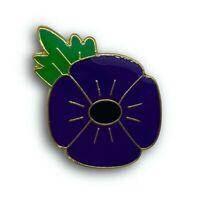 THE ANIMALS OF WAR Beautiful Purple Poppy Enamel Lapel / Pin Badge