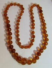 Amber Faceted Graduated Beads Necklace Vintage 37 grams