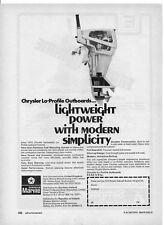 1972 Print ad for CHRYSLER MARINE OUTBOARDS + Francis Marine Windlasses on back