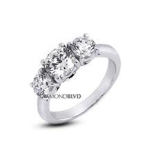 2.25 CT D/VVS1/VG Round Diamonds Platinum Basket Cathedral Engagement Ring 6.4gr