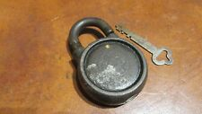 VINTAGE YALE & TOWNE Y & T PADLOCK  ROUND BODY WITH KEY ANTIQUE LOCK REALLY NICE