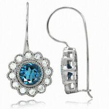 2.56ct. Genuine London Blue Topaz 925 Sterling Silver Flower Hook Earrings