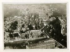 Laon, vue d'avion sur la cathédrale Notre-Dame - Photo Aérienne Vintage 1935