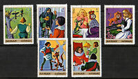 AJMAN 1971 GRIMMS FAIRY TALES SET OF ALL 6 COMMEMORATIVE VALUES STAMPS CTO