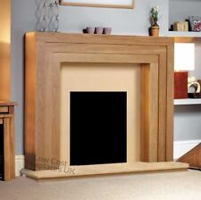 LARGE GAS ELECTRIC OAK SURROUND CREAM MARBLE MODERN FIRE FIREPLACE SUITE - 54""