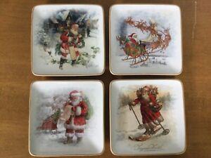 Pottery Barn Appetizer Christmas plates set of 4