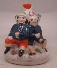 Staffordshire Pottery Figure Spill Vase - Two Men Drinking 'Good Friends'