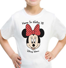 16cf28c25 Personalised Mickey Minnie Mouse Kids T-shirt YOUR NAME IS GOING TO DISNEY  WORLD