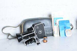BOLEX PAILLARD P2 8mm ZOOM REFLEX MOVIE CAMERA W/PAN CINOR 1.9 LENS CASE MANUAL